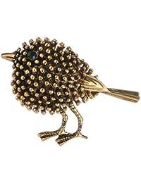 Hellery ヴィンテージ調 ブローチ 合金製 小鳥デザイン ギフト - ゴールド