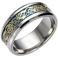 BEE&BLUE ドラゴンデザイン指輪 メンズ ステンレス チタンリング チタン指輪 平打ち リング 龍紋 竜ザイン アクセサリー (6, ブルー+ゴールド)