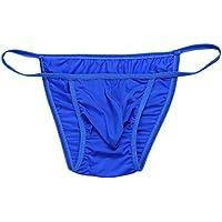 FEESHOW Men's Silky Bugle Pouch Tanga Briefs Bikini Underwear