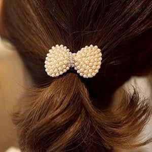 ヘアゴム まとめ髪 髪まとめ ヘアゴム かみどめや 髪留め 髪飾り ヘアアクセサリー レディース ヘアアクセサリー キュート リボン パール