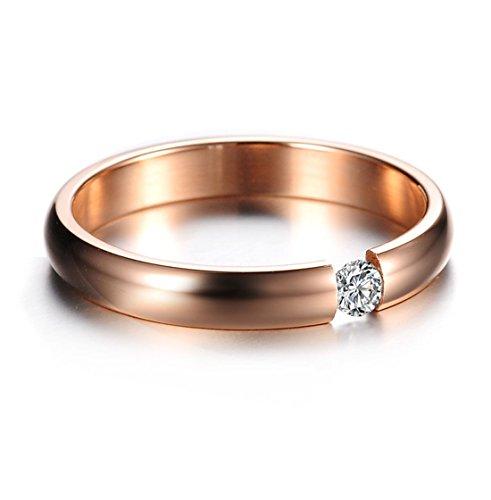 KissDay ワンポイント GZ ダイヤモンドリング ステンレス ピンクゴールド レディース 人気 結婚指輪 シンプルファッション ファッション フアクセサリー ジュエリー エンゲージリング 14号 …