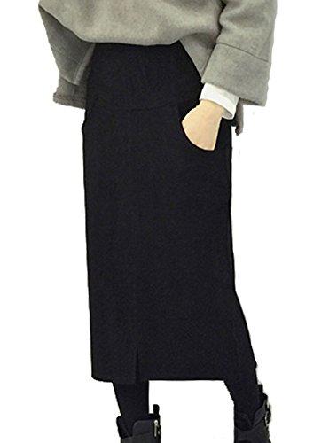 セレクティア(SELECTIA)シンプル モノトーンカラー ミモレ丈 スカート シンプル タイトスカート スレンダースカート 大人カジュアル ロングスカート (ブラック )