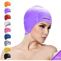 スイムキャップ ロングヘア用 耳カバー付き 100%シリコンスイミングハット 男女兼用 大人 子供兼用 プールキャップ 髪をまとめ引き締め 水泳