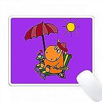 ビーチアートでおかしいオレンジのカバ PC Mouse Pad パソコン マウスパッド