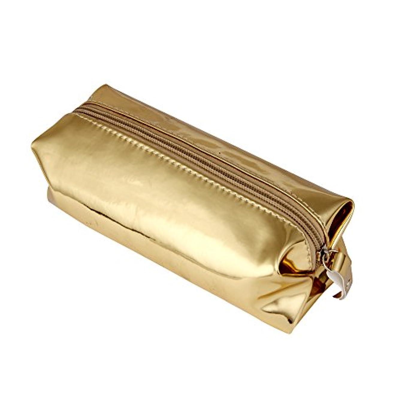 九月間違えた発明メイクポーチ Akane 超ファッション きらきら レーザー 直方体 オシャレ 人気 多機能 便利 防水 パーティー 旅行 収納袋 化粧ポーチ(5色) (ゴールド)