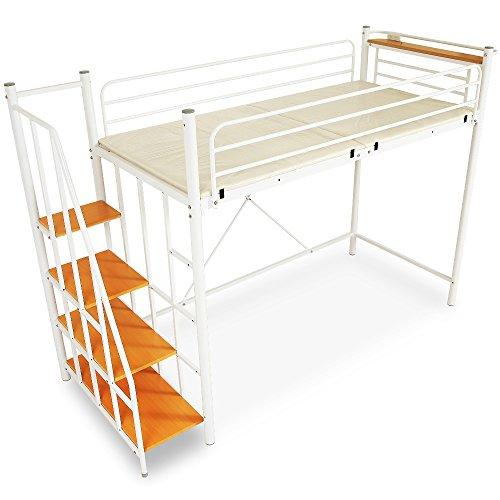 LOWYA (ロウヤ) ロフトベッド 階段 宮 コンセント付 軋み防止マット 極太パイプ パイプベッド セミダブル ホワイト おしゃれ 新生活