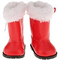 Lovoski 着せ替え人形用  ファッション ブーツ  靴  18インチ アメリカンガールドール対応 - 赤