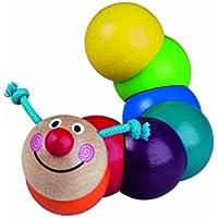 手作り木製Caterpillar Clutchingビーズ、Rattle、Teether Montessori toy- Bobo (ハンドメイドのヨーロッパ)