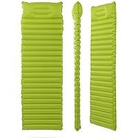 エアバッグタイプ超軽量インフレータブルクッションアウトドアキャンプ用マットテントスリーピングパッドシングルワイドシェーディングモイスチャライティングマットグリーンオレンジ186X60X8.5cm (色 : Green)