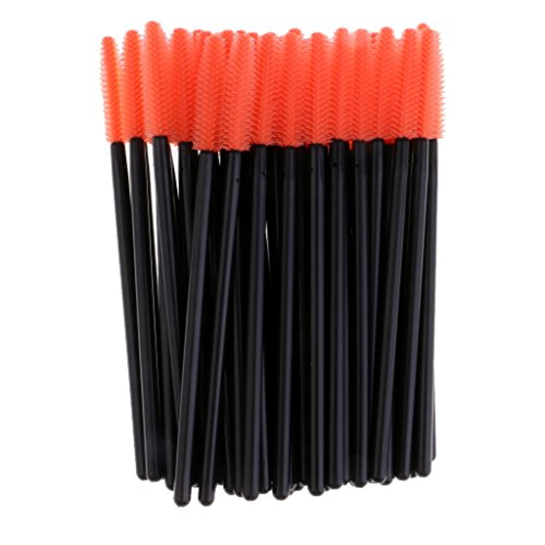 時折変装した風変わりなPerfk 約50本 まつ毛ブラシ 使い捨て コスメブラシ シリコンブラシ マスカラ アイメイク メイクアップアプリケーター 全4色選べる - オレンジ