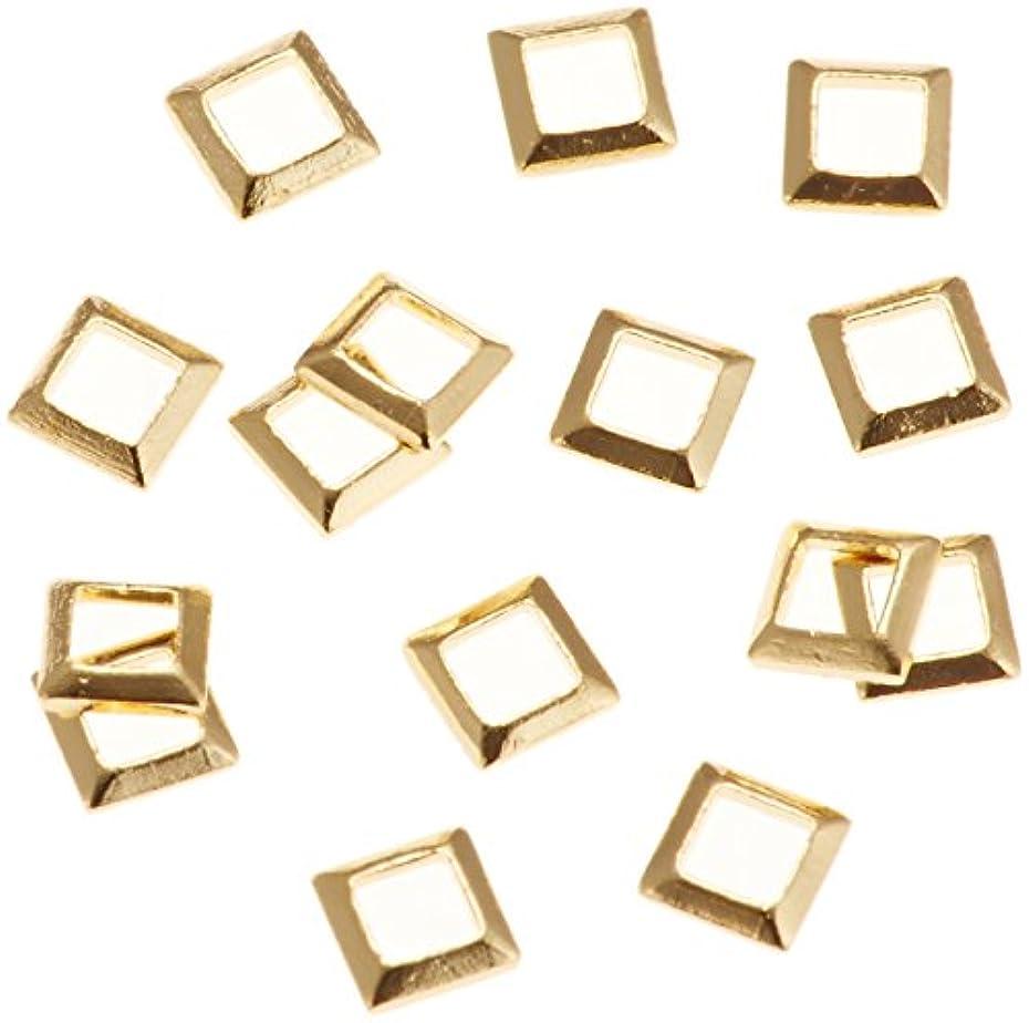 回復する精通したトリプルリトルプリティー ネイルアートパーツ スクエア スカシ ゴールド 50個