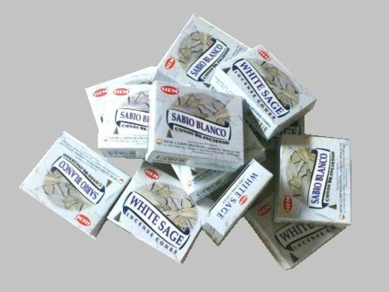 到着する同僚奴隷HEM(ヘム)お香コーン ホワイトセージ 1ケース(10粒入り1箱×12箱)