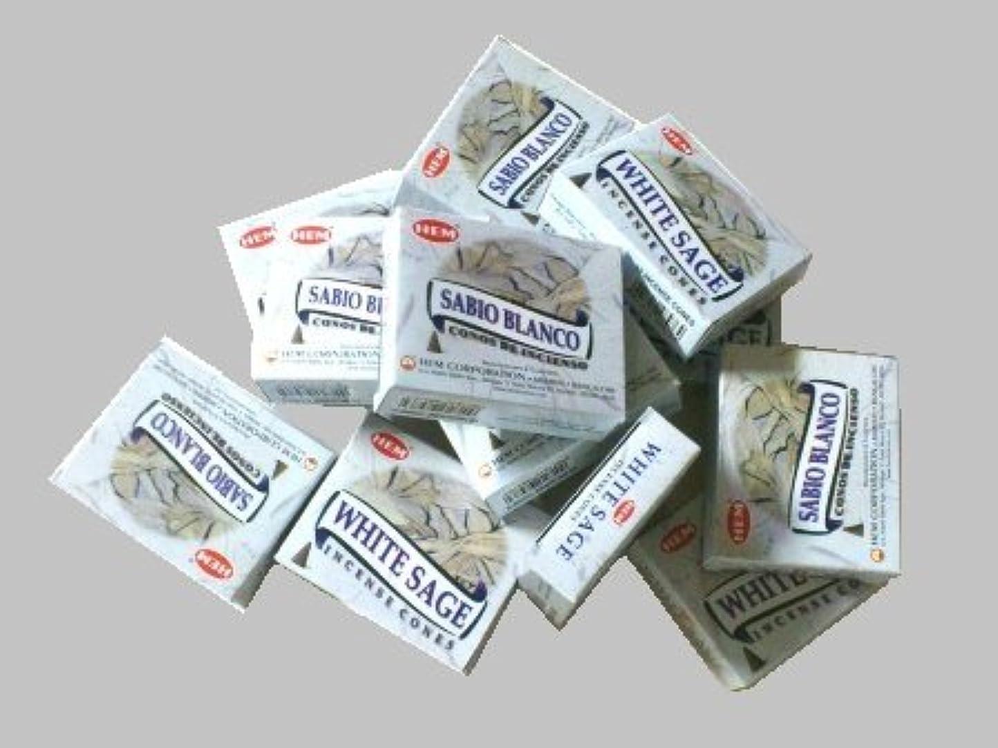 楕円形アーサーコナンドイル再生HEM(ヘム)お香コーン ホワイトセージ 1ケース(10粒入り1箱×12箱)