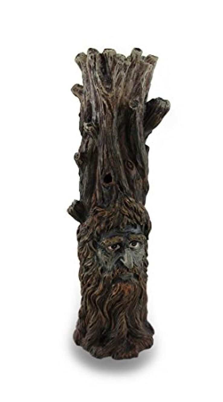 爵こっそり中世のTree Of Wisdom Incense Tower Green Man and Green Lady Burner Box Statue