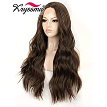 K'ryssma Lace Front Wigs Brown Long Natural Wavy Hair Middle Part Synthetic Wig Brown Color Half Hand Tied Hair for Women Glueless Heat Resistant 22 Inches