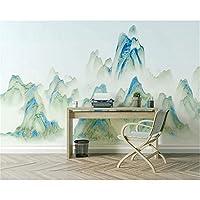 Ljjlm 現代のカスタム壁紙インク絵画抽象風景画リビングルームのソファーテレビの背景シルク布の壁紙-160X120CM