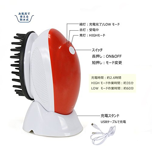 電動頭皮ブラシ EVERTOP 頭皮マッサージャー 3種類のヘッドブラシ付き(洗浄、マッサージ、頭皮ケア)ワンクリックで低速/高速切替え 防水機能搭載 レッド