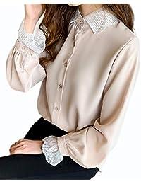 (イノ)Yino シャツ ブラウス レディース トップス 長袖 レース シフォンシャツ 春 とろみシャツ 無地 ゆったり 着痩せ おしゃれ 大人 可愛い 大きいサイズ オフィス 上品 通勤 OL 通学
