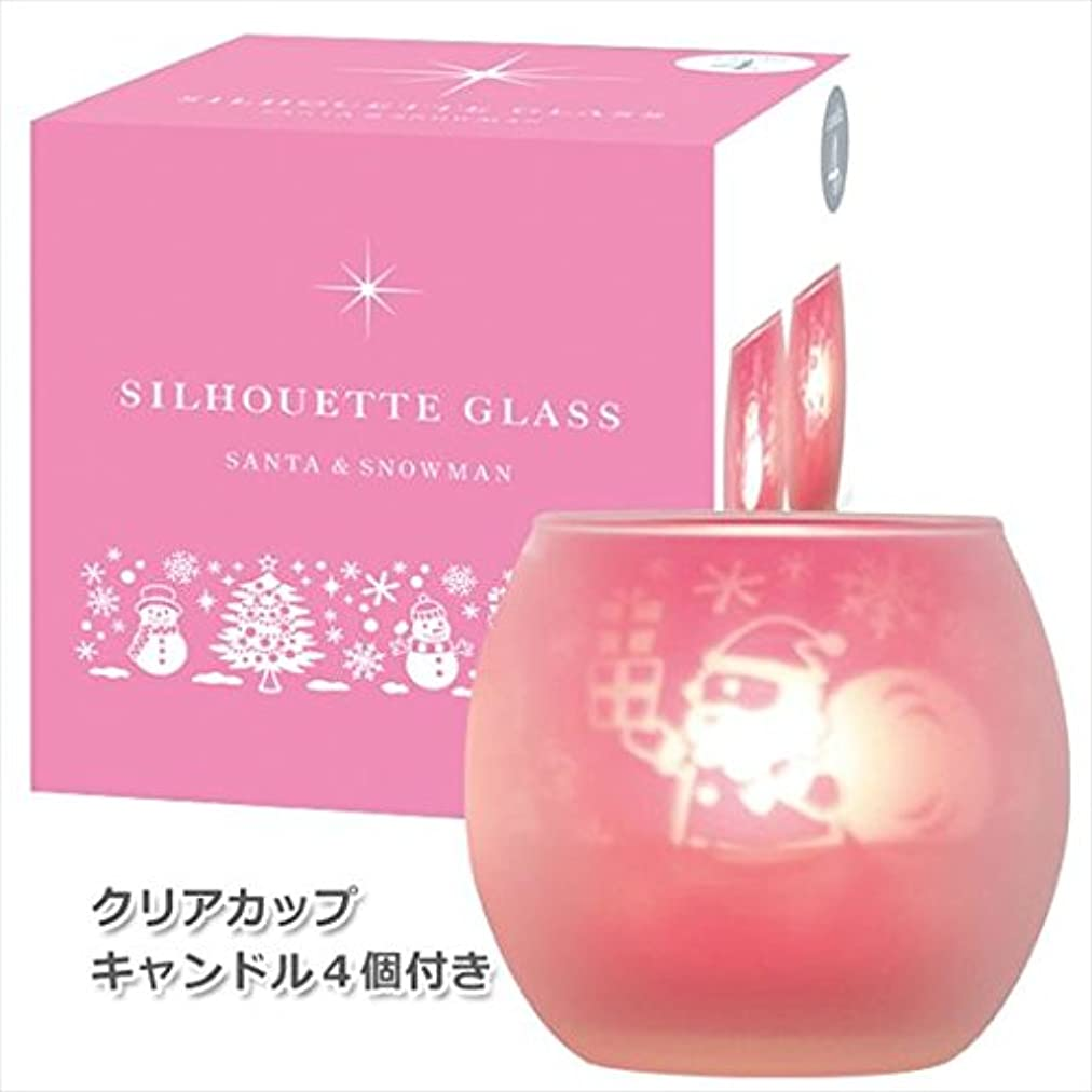 なぜなら市民権ボックスカメヤマキャンドル(kameyama candle) サンタ&スノーマンシルエットグラス【キャンドル4個付き】