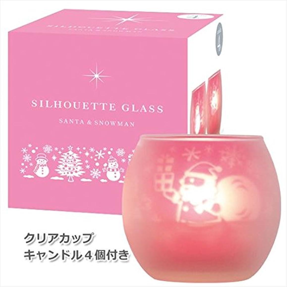 豊かにするセンチメンタルそれからカメヤマキャンドル(kameyama candle) サンタ&スノーマンシルエットグラス【キャンドル4個付き】