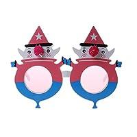 P Prettyia クリスマス メガネ 雪だるま コスチューム 変装グッズ 仮装小物 面白メガネ かぶりもの 盛り上げ 全10種 - ピンクの雪だるま, 16×12センチメートル