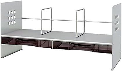 プラス ブックスタンド 89-264 H型ケース付 間口65cm シルバー