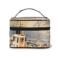 メイクポーチ 化粧ポーチ コスメバッグ バニティケース トラベルポーチ 帆船 雑貨 小物入れ 出張用 超軽量 機能的 大容量 収納ボックス