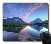 ヴァーミリオン湖で反射する自然の夕日の雲ノンスリップラバーゲームマウスパッド