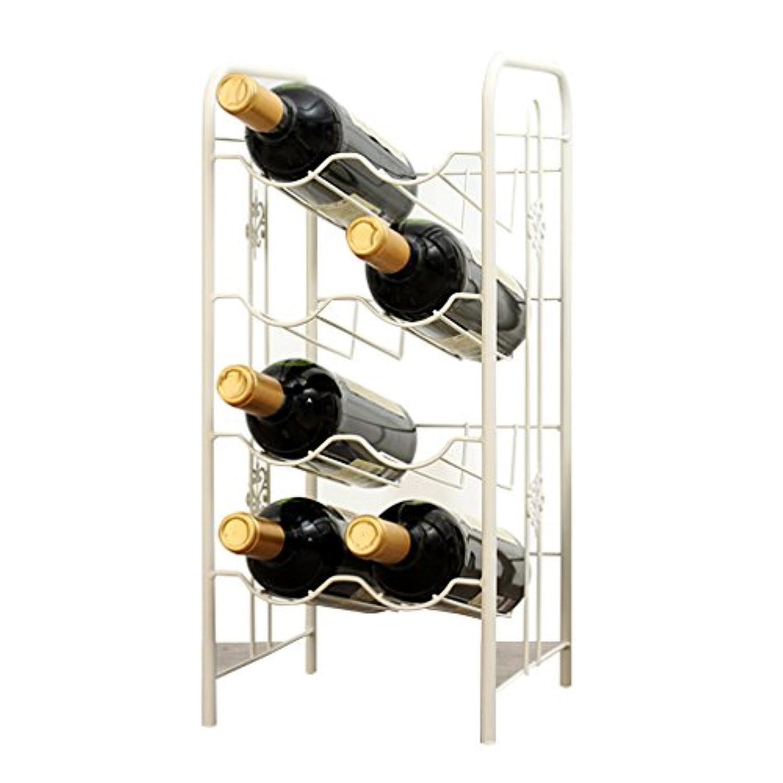 ワインラック8人用ワインラック無料カウンタートップワインボトルホルダーワイン愛好家の現代ミニマルデザイン(サイズ:22 * 23 * 48cm)