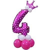 ebtoysホイルバルーン番号バルーンヘリウムMylar Balloons forベビーシャワーパーティーキッズ誕生日装飾 – 数4 (ピンク