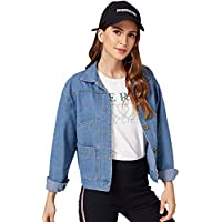 Floerns Women's Classic Washed Button Down Long Sleeve Denim Jacket