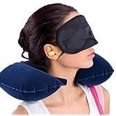 アイマスク 耳栓 首エアー枕 3点セット 旅行 トラベルグッズ 安眠 快眠