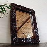 アジアン・バリ雑貨・バリウッド・baliwood:ハイビスカスの彫刻たっぷりの木製オシャレミラー!ダークブラウンSサイズ