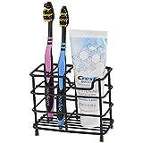 Stainless Steel Toothbrush Holder Toothpaste Holder Stand for Bathroom Vanity Countertops,5 Slot Black