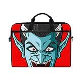 TARTINY 15-15.4インチラップトップバッグ漫画笑う吸血鬼ヘッドショルダーメッセンジャーバッグスリーブケースタブレットブリーフケース付きハンドルストラップ