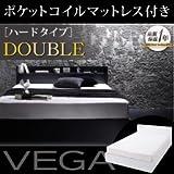 棚・コンセント付き収納ベッド【VEGA】ヴェガ【ポケットコイルマットレス:ハード付き】ダブル ブラック