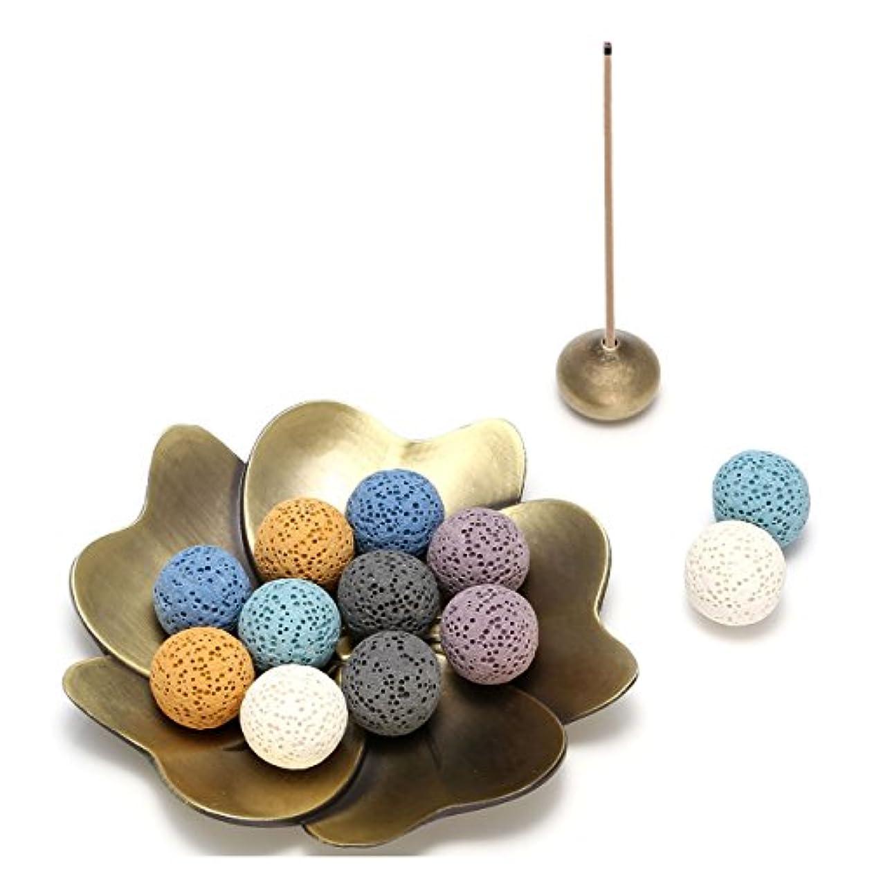 コンペ計器世紀(Lava Stone Ball Beads) - Jovivi 14 pcs Lava Stone Beads for Essential Oils W/Sakura Brass Incense Burner Stick Incense Holder - Aromatherapy Diffuser Decoration Set(Lava Stone Ball Beads)