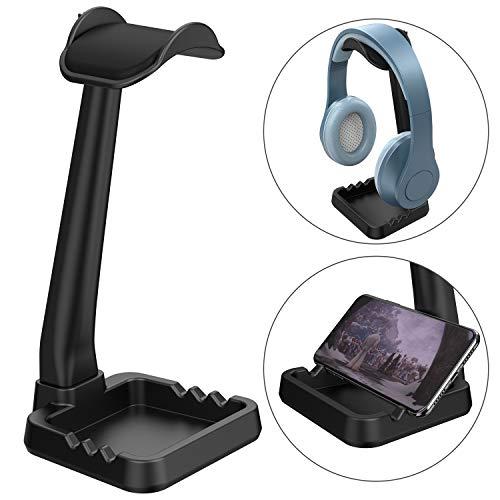 ヘッドホンスタンド ヘッドセットスタンド 【収納・ 多機能】スマホホルダーとして使用可能 MiiKARE ゲーミングヘッドハンガー ヘッドホンハンガー ヘッドホンホルダー ヘッドホン掛け Sony Audio-Technica BOSE AKG Beats Panasonic KingTopなど対応 ブラック