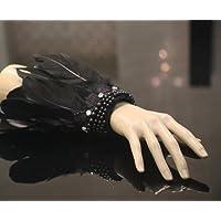 Damjic ダンサーのキャットウォークの手首手袋 Wristlet 黒い羽のビードの宝石類のを実行します。