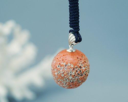 桃色珊瑚のす珠 根付 紫紐