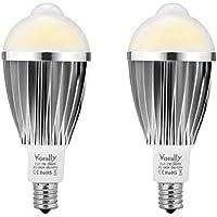 【改良版】 センサー電球 Vorally E17 LED電球 電球色 人感センサーライト 2個セット 7W 630LM 50W相当 明るい 防犯・防災 (E17)