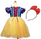 (Miwoluna) ハロウィン コスプレ 白雪姫 ドレス 子供 女の子 カチューシャ付き 衣装 仮装 パーティー なりきり 変身 キッズ 100cm