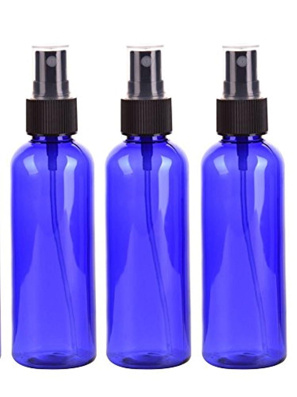 お客様レールプレゼンタースプレーボトル 50mL ブルー黒ヘッド プラスチック空容器 3本セット (青)
