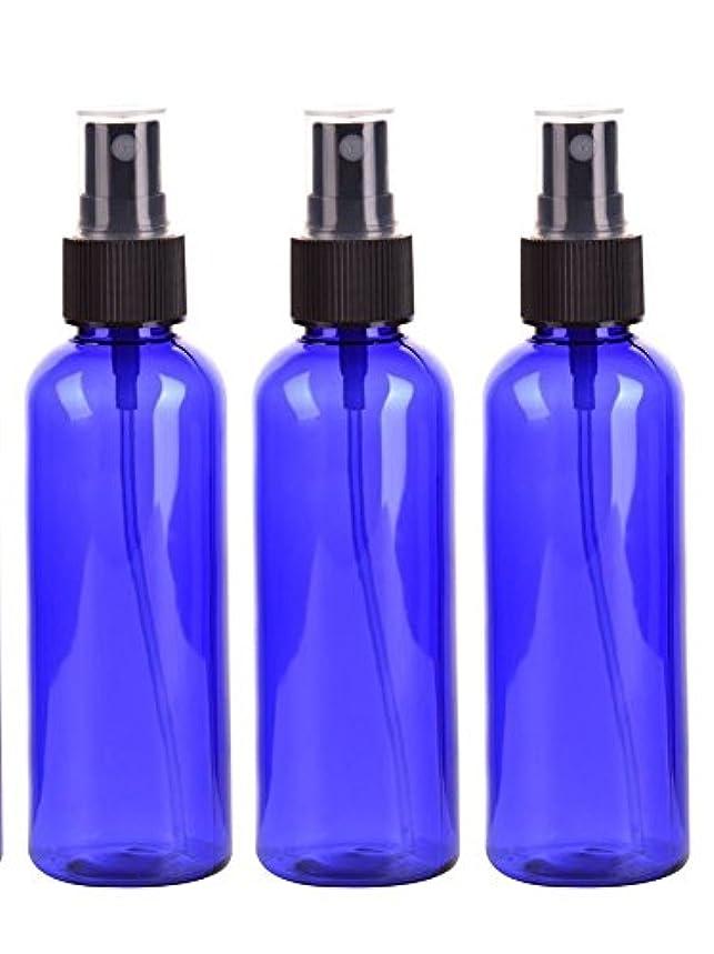 スプレーボトル 50mL ブルー黒ヘッド プラスチック空容器 3本セット (青)