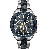 Armani Exchange Men's Analog-Quartz Watch with Stainless-Steel Strap, Blue, 22 (Model: AX1815)