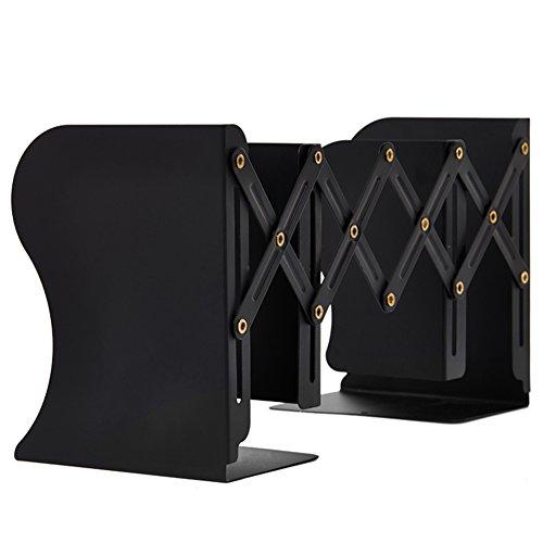 Joytoop 本立て ブックスタンド伸縮型 金属製 仕切りスタンド 卓上収納 雑誌/新聞/書類入 オフィス 黒 【1年間保証・正規品】
