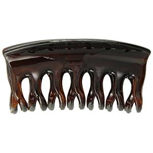 [キャラバン] Caravan ヘアアクセサリー ミディアム コンベンショナル バンスクリップ 波 & 丸型歯 べっ甲 フランス製 773