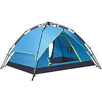 テントキャンプ自動ポップアップ3-4人家族テント防水二重層屋外軽量ドームテント (色 : 青)