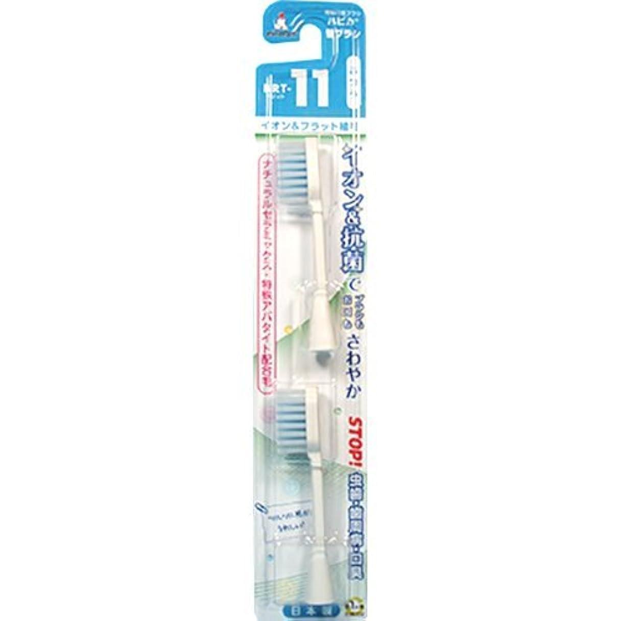 冷凍庫茎ドナーミニマム 電動付歯ブラシ ハピカ 専用替ブラシ イオン+フラット植毛 毛の硬さ:ふつう BRT-11 2個入