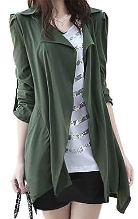 モカベリー (MocaBelly) 薄手 スプリング トレンチ コート デザイン ロール アップ 羽織 大きい サイズ レディース (1、カーキM)